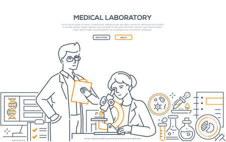 Medical laboratory - modern line design style banner Çizim
