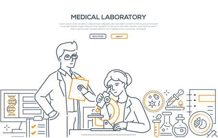 Medical laboratory - modern line design style banner Illustration