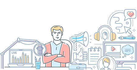 Podcast - modern line design style web banner on white background. High quality colorful composition with a young man, presenter on air in the studio, live streaming, images of globe, megaphone