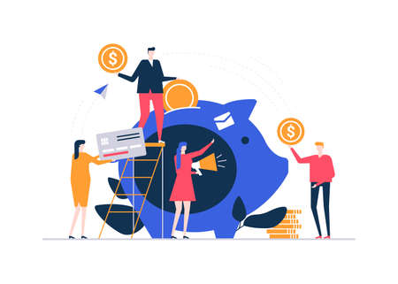 Fundraising concept - colorful flat design style illustration