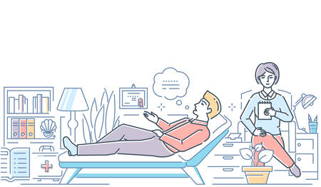 Psychologist - modern line design style colorful illustration on white background. High quality composition with a female specialist consulting male patient, making notes. Mental health concept  イラスト・ベクター素材