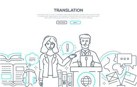 Übersetzung - Webbanner im modernen Liniendesign