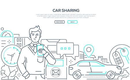 Car sharing - modern line design style web banner
