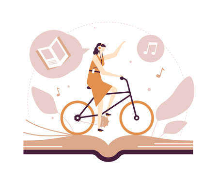 Listening to audiobooks - flat design style illustration on white background. Quality brown composition with a young woman in headset cycling and enjoying literature, images of books and notes Stock Illustratie