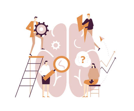 Psychology concept - modern vector flat design style illustration on white background. Male, female characters, psychologists around human brain with magnifier, gear, question, lightning, making notes