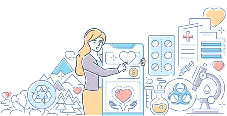 Charity concept - modern line design style illustration on white background. Ecology, medical care, nature, financial help themes. A woman, volunteer using mobile app to participate in campaign Illustration