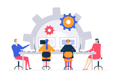 Technical support - flat design style colorful illustration