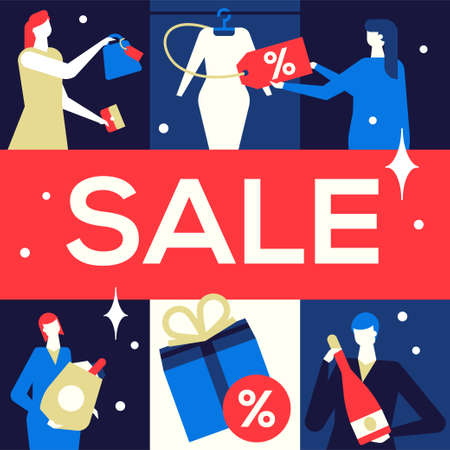 Big Sale - flat design style colorful illustration on blue background. High quality composition with male, female characters, buying products, clothes, drinks and gifts. Shopping, discount concept