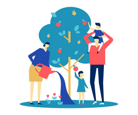 Happy family - flat design style colorful illustration on white background. A bright composition with young parents, wife and husband standing together around apple tree, watering it, picking fruit Ilustrace