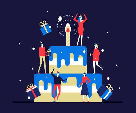 Joyeux anniversaire - illustration de style design plat sur fond bleu. Composition de qualité avec des gens joyeux, des amis hommes et femmes debout autour d'un gros gâteau à plusieurs niveaux avec une bougie, célébrant