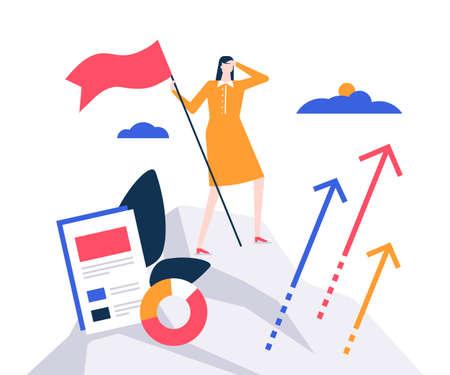 Business leadership - colorful flat design style illustration