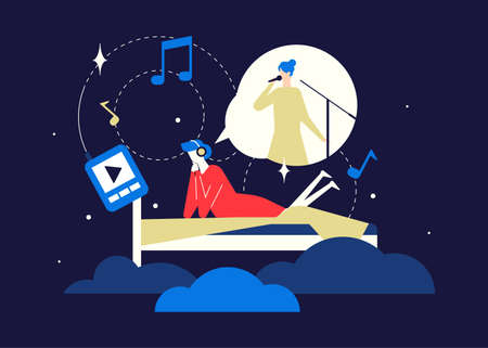 Listening to music - flat design style colorful illustration on blue background. Quality bright composition with female character, woman lying in bed, enjoying the song of her favorite singer