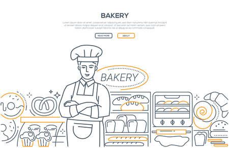 Bakery - modern line design style web banner