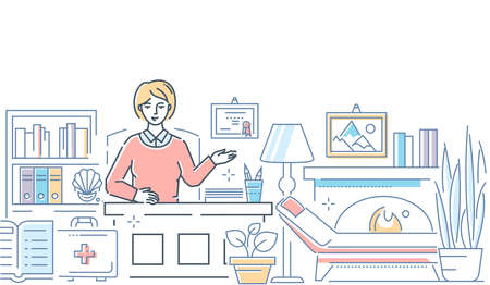 Psychologist at work - modern line design style illustration on white background. High quality composition with a female specialist, counselor sitting at the desk in her office. Mental health concept