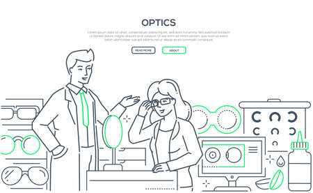 Optics - modern line design style web banner on white background with copy space for text. A male worker helping a female customer to choose glasses, images of contact lenses, accessories, eye chart 스톡 콘텐츠 - 125091845