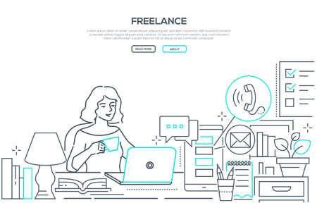 Freelance - modern line design style web banner Illustration