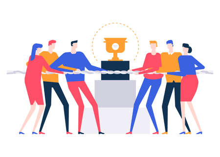 Business competition - colorful flat design style illustration on white background. Quality composition with two teams, rivals pulling a rope, tug of war, fighting for the prize, cup. Victory concept