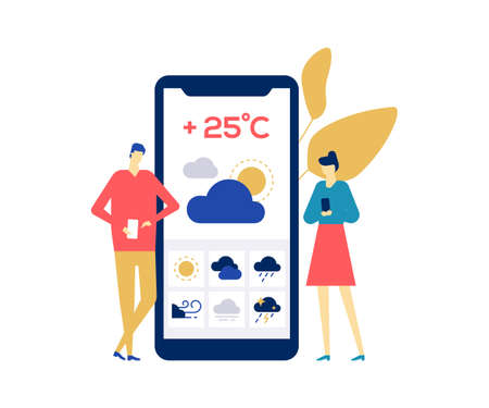 Weather concept - colorful flat design style illustration on white background. Bright unusual composition with boy and girl checking the forecast on smartphone screen, using mobile app