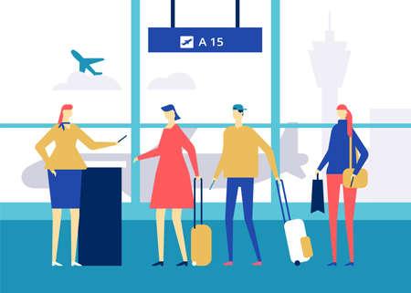 À l'aéroport - illustration colorée de style design plat
