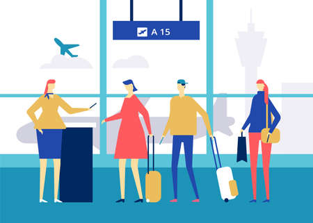 At the airport - flat design style colorful illustration