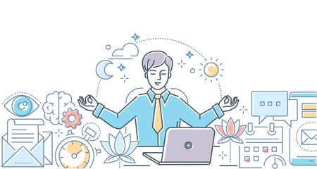 직장에서의 마음챙김 - 흰색 바탕에 현대적인 선 디자인 스타일 그림. 사무실에서 명상을 하고 노트북에 앉아 스트레스를 풀기 위해 노력하는 사업가와 다채로운 구성