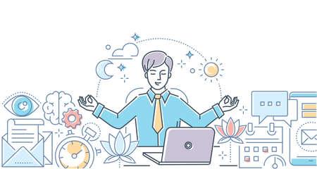 Mindfulness en el trabajo - ilustración de estilo de diseño de línea moderna sobre fondo blanco. Composición colorida con un empresario meditando en la oficina, sentado en la computadora portátil, tratando de liberar el estrés