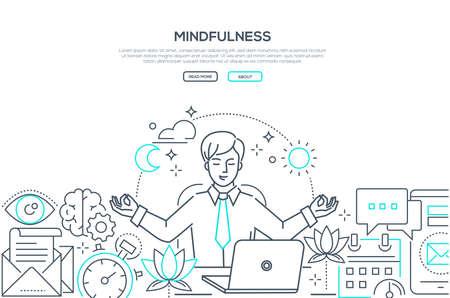 Mindfulness - banner web de estilo de diseño de línea moderna sobre fondo blanco con espacio para copiar texto. Una composición con un empresario meditando en el trabajo, sentado en la computadora portátil, tratando de liberar el estrés
