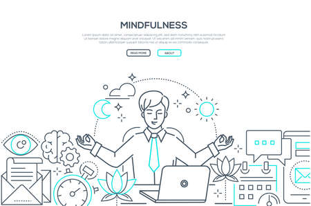 Mindfulness - modern line design style web banner on white background with copy space for text. A composition with a businessman meditating at work, sitting at the laptop, trying to release stress Illusztráció