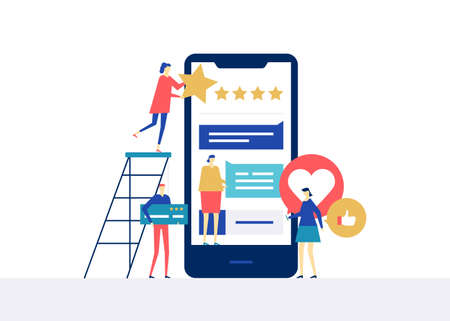 Testimonials on social media - flat design style colorful illustration