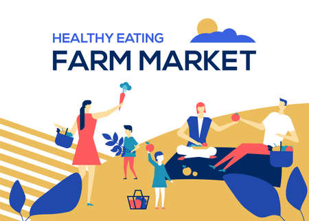Farm market - flat design style colorful illustration. High quality banner with male, female characters, children and adults on a picnic, holding fresh vegetables. Healthy eating, organic food concept Stock Vector - 125047663