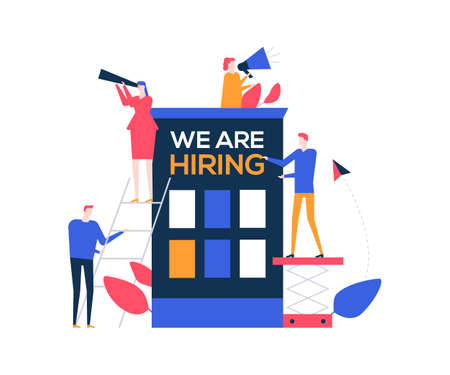 We are hiring - flat design style colorful illustration on white background. Unusual composition with characters, HR managers searching for candidate, looking through spyglass, speaking with megaphone Illustration