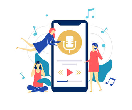 Listening to music - flat design style colorful illustration on white background. Quality bright composition with female characters, cute girls in headsets, enjoying the sounds from a smartphone