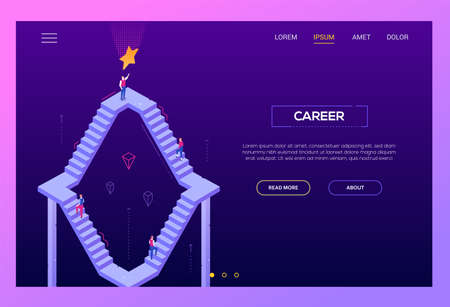 Career - modern isometric vector landing page template on purple background with copy space for text. High quality website header with business people climbing up staircase trying to reach the goal Illustration