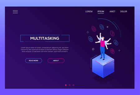 Multitasking concept - modern isometric vector website header