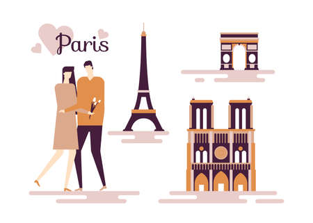 Travel to France - colorful flat design style illustration on white background. A composition with cute couple hugging, French landmarks, Eiffel tower, Triumphal arch, Notre-Dame de Paris cathedral