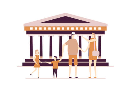Visit Greece - colorful flat design style illustration on white background. A composition with tourists, parents, children standing at ancient Parthenon temple in Athens. Traveling and tourism concept Illustration