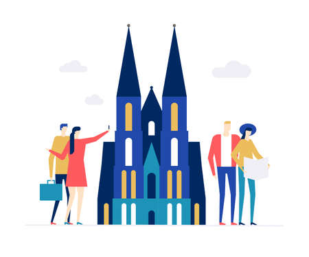 Travel to Germany - colorful flat design style illustration on white background. A composition with tourists, couples at Cologne Cathedral, standing with maps, making selfie. Tourism, vacation concept