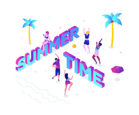 Summer time - modern colorful isometric vector illustration on white background with inscription. A composition with happy boys and girls playing volleyball on the beach, sunbathing. Vacation concept