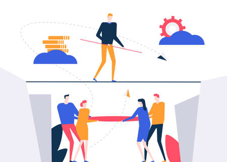 Motivation - colorful flat design style vector illustration on white background. A composition with a businessman walking on a cable, trying to reach goals, business team supporting, ensuring safety