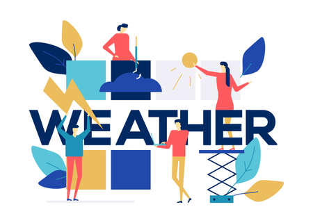 Weather concept - colorful flat design style illustration on white background. Bright unusual composition with male, female characters, images of clouds, lightning, sun. Forecasting concept