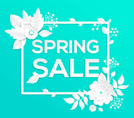 Spring sale - modern vector colorful illustration on blue background. High quality composition with lovely white paper cut flowers. Text in a white frame. Perfect as a flyer. Seasonal discount