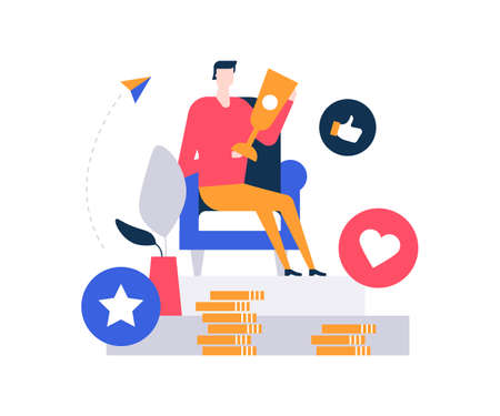 Business victory - colorful flat design style illustration on white background. A composition with a character, businessman sitting in an armchair, holding a trophy, images of coin stack, like buttons