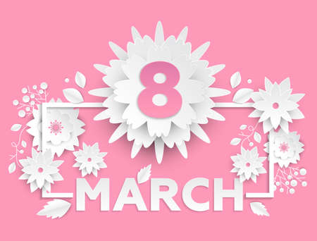 8 March - modern vector colorful illustration on pink background. High quality greeting card on international women day, invitation template. Romantic composition with floral decorations, text, frame Illustration