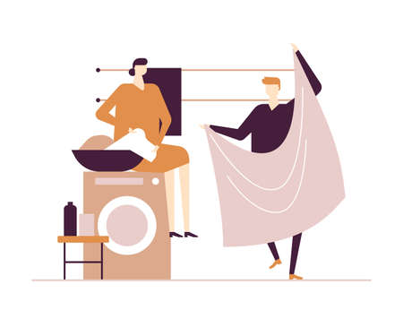 Couple doing laundry - flat design style colorful illustration on white background. Composition with characters, wife, husband in the bathroom hanging out the washing. Household chores concept Ilustração