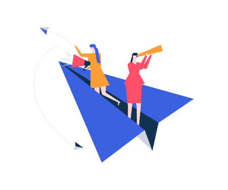 Vacancy announcement - flat design style colorful illustration on white background. Female specialists searching for candidate, flying on paper plane, looking through spyglass, speaking with megaphone Illustration