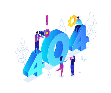 Error 404 page - modern colorful isometric vector illustration on white background with blue numbers. A quality composition with characters trying to find a solution. Problems with website concept