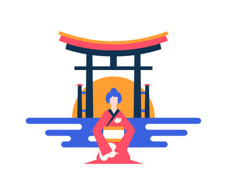 Visit Japan - colorful flat design style illustration on white background. A composition with a woman in traditional clothes, kimono at Torii gates, national symbol. Traveling and vacation concept