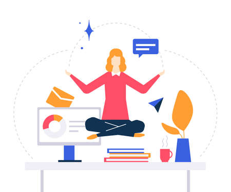 Mindfulness at work - colorful flat design style illustration on white background. Bright unusual composition with a businesswoman, female manager meditating in the office, trying to release stress