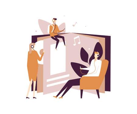 Écouter des livres audio - illustration de style design plat sur fond blanc. Composition de qualité avec des personnages, des adultes et un enfant dans des casques, profitant de livres, de littérature. Loisirs et éducation Vecteurs