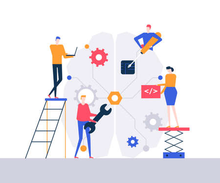 Artificial intelligence - flat design style colorful illustration. Unusual composition with male, female characters, programmers fixing a big brain with a wrench, screwdriver, working at the laptop